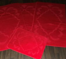 ROMANY GYPSY WASHABLES 4PC SET NON SLIP MATS 80x120CM DIAMOND SWIRL RED RUGS